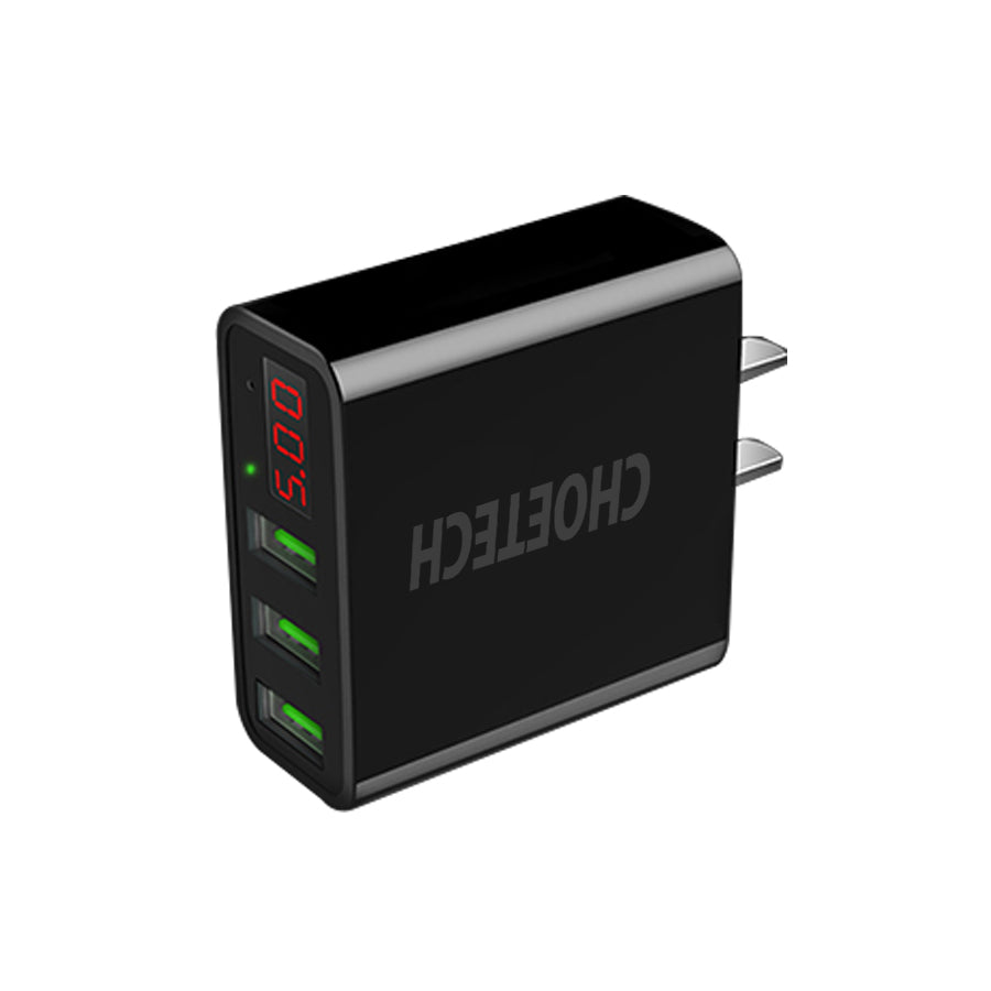 CHOETECH Rapid Wall Charger LED Display 5V/3A 3-Port Wall Charger CHOETECH OFFICIAL