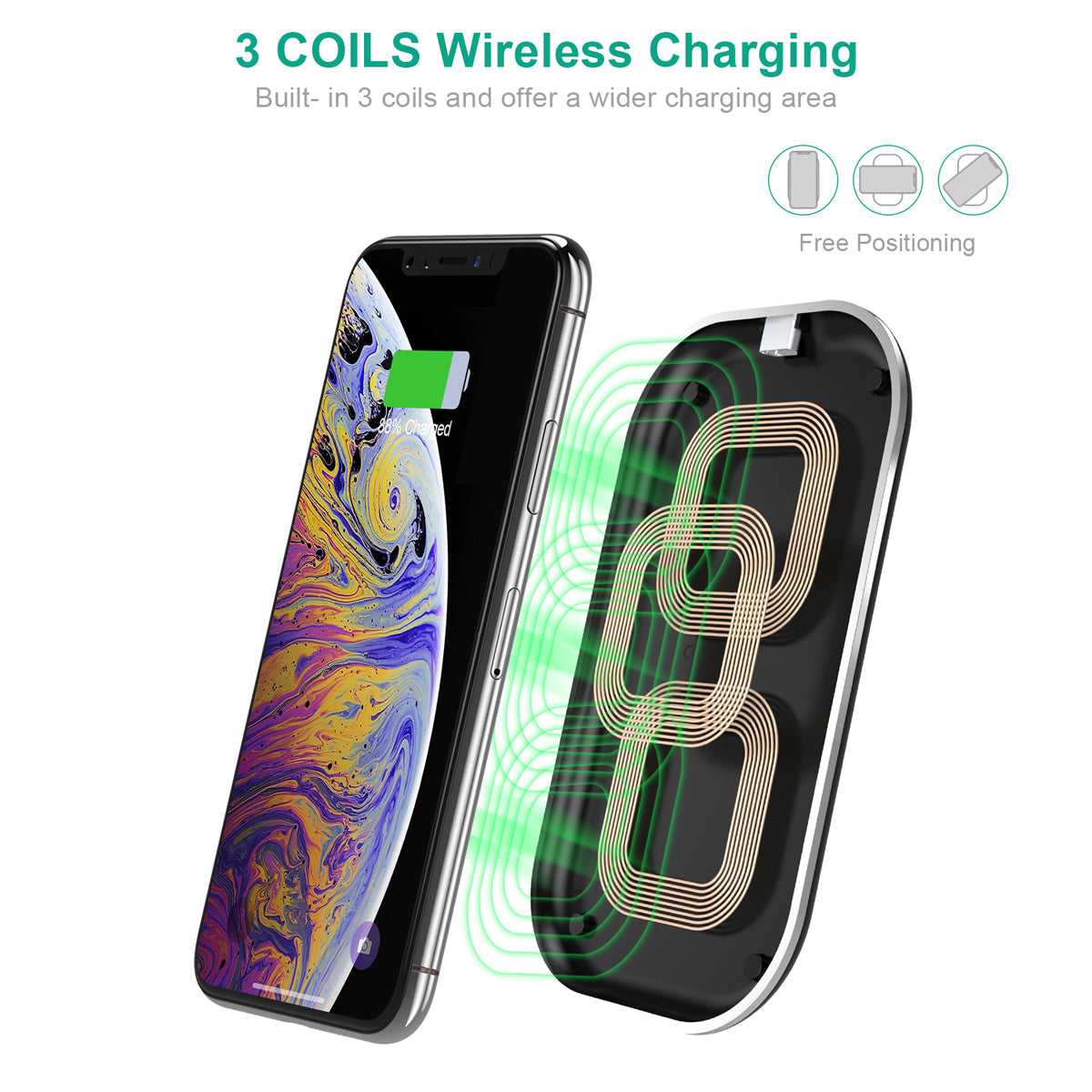 T513-S 3 Coils 10W Fast Wireless Charging Pad