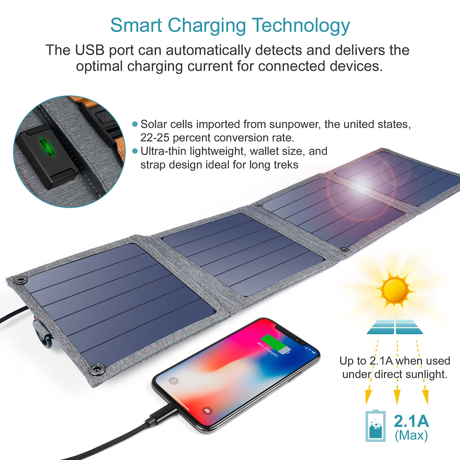 SC004 14W USB Foldable Solar Powered Charger