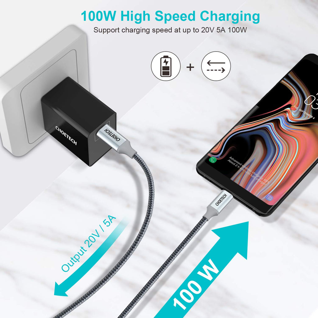 XCC-1002-GY CHOETECH 100W USB Type C 6.6Ft Braided Fast Charging Cable 2 Pack CHOETECH