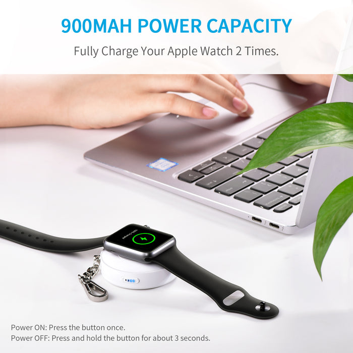 CHOETECH [Apple MFI Certified] Apple Watch Portable Charger 900mAh Wireless Apple Watch Power Bank CHOETECH OFFICIAL