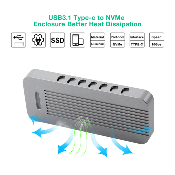 M.2 NVME SSD Enclosure M Key USB 3.1 Type-C to PCI-E NVMe Hard Disk Case CHOETECH