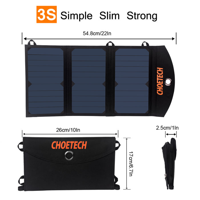 CHOETECH Solar Charger, 19W Solar Phone Charger CHOETECH OFFICIAL