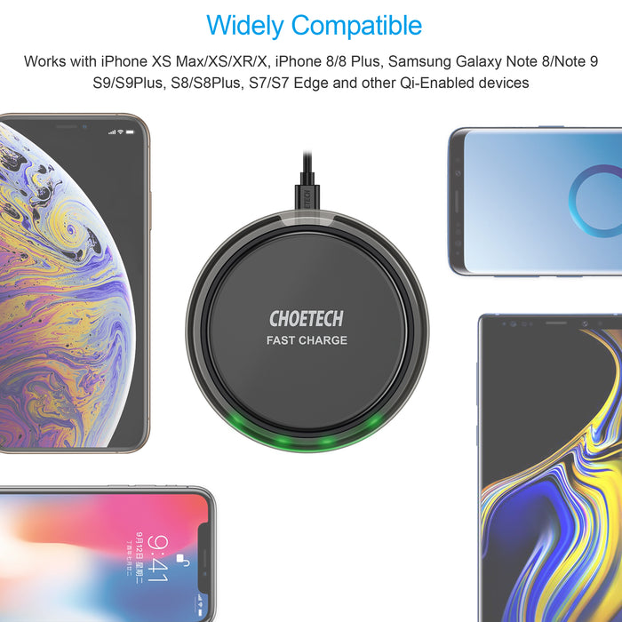 CHOETECH Qi Certified 7.5W Fast Wireless Charger (US Plug QC3.0 AC Adapter Included) CHOETECH OFFICIAL