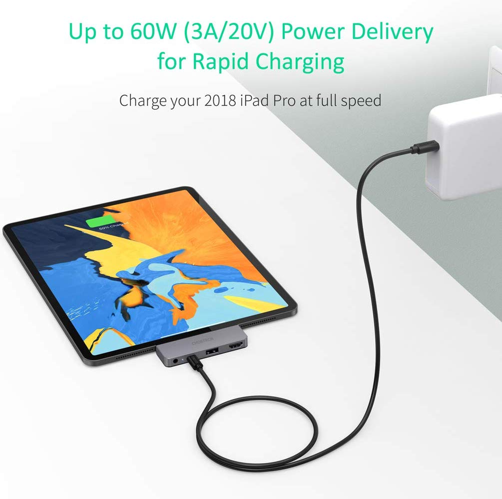 HUB-M13 Choetech USB C 4 in 1 Hub for iPad Pro 2018 Type C to 4K 60HZ HDMI Adapter CHOETECH
