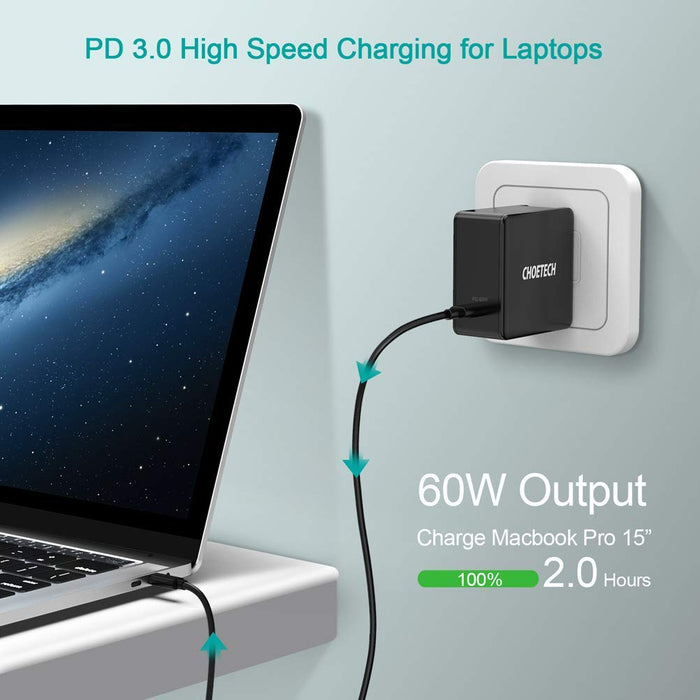 Q4004 Choetech 60W PD 3.0 Type C Fast Charging Foldable Adapter USB C Charger CHOETECH