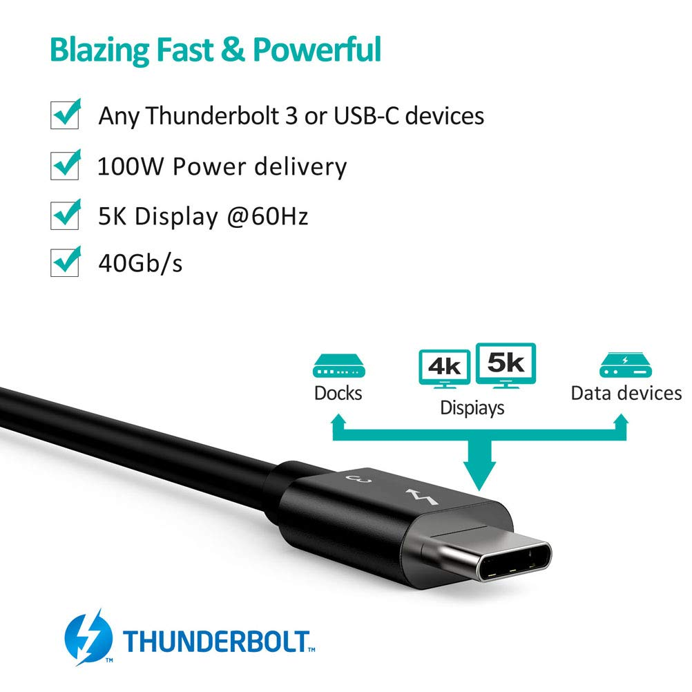 A3007 USB Type C Thunderbolt 3 Cable 40Gbps/100W Charging (2.3 feet/0.7 Meters) 5A/20V CHOETECH