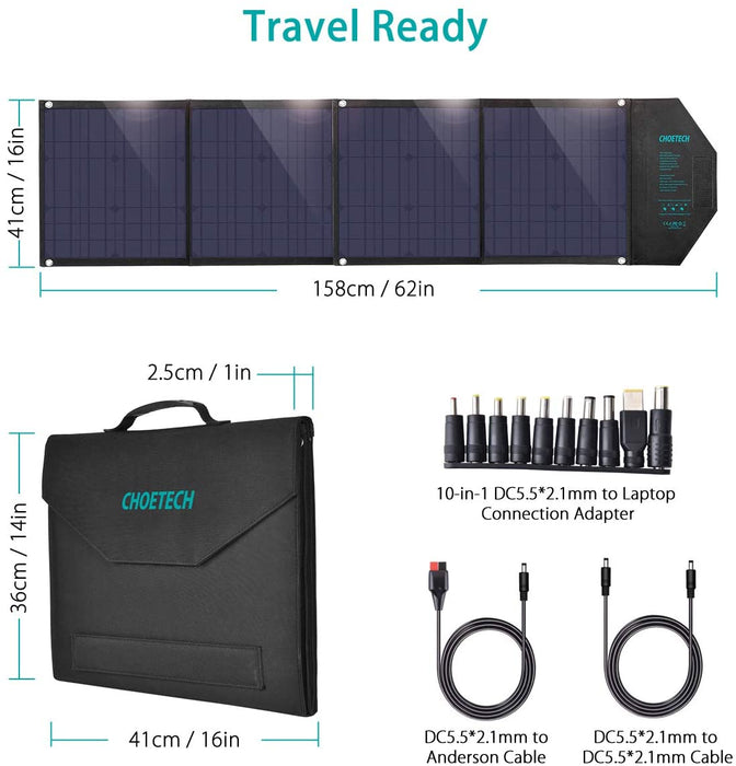 CHOETECH 80W 18V Solar Charger with USB C PD 30W-SC007