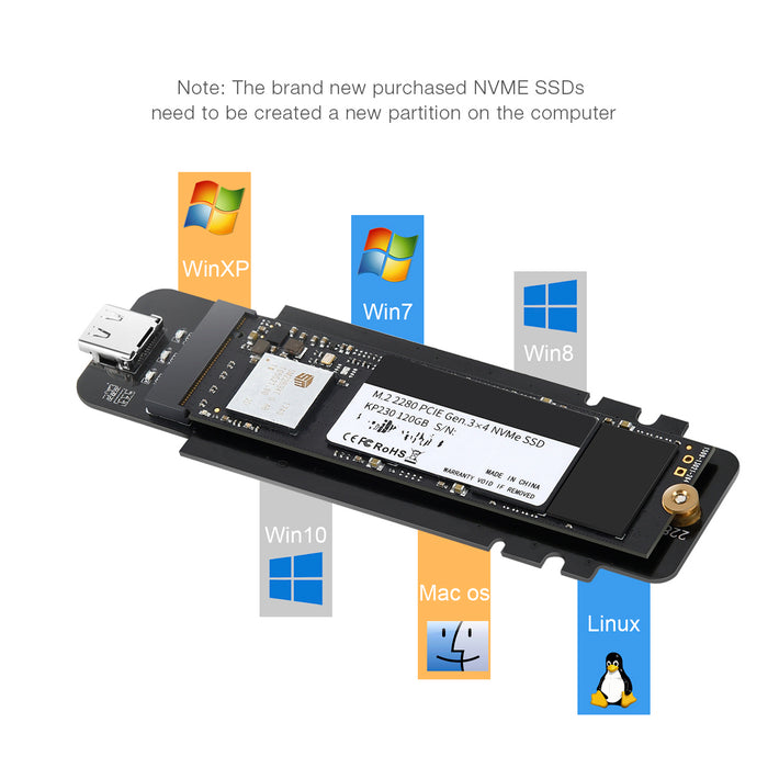 PC-HDE02 M.2 to USB SSD Reader Supports M-Key (PCI-E NVMe-based) CHOETECH