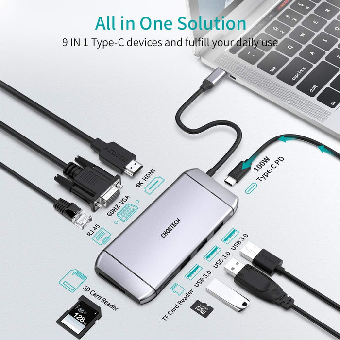 HUB-M15 9 in 1 USB C Adapter Hub with 4K HDMI, 100W PD Power,3 USB 3.0, RJ45 Ethernet, 60HZ VGA, SD/TF Card Reader CHOETECH