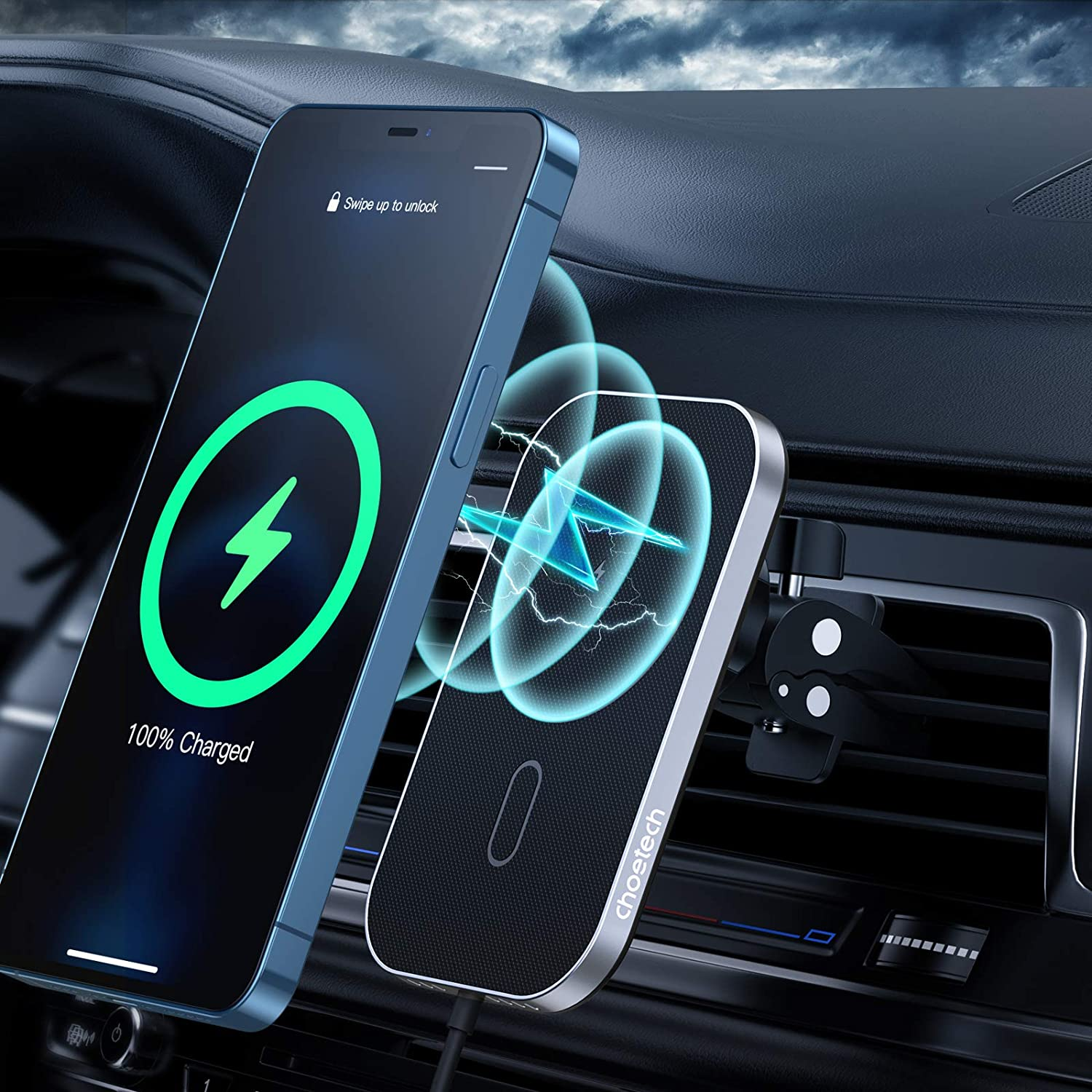 T200 Choetech MagLeap agnetic Wireless Car Charger For iPhone 12 360° Adjustable Auto-Alignment Air Vent CHOETECH