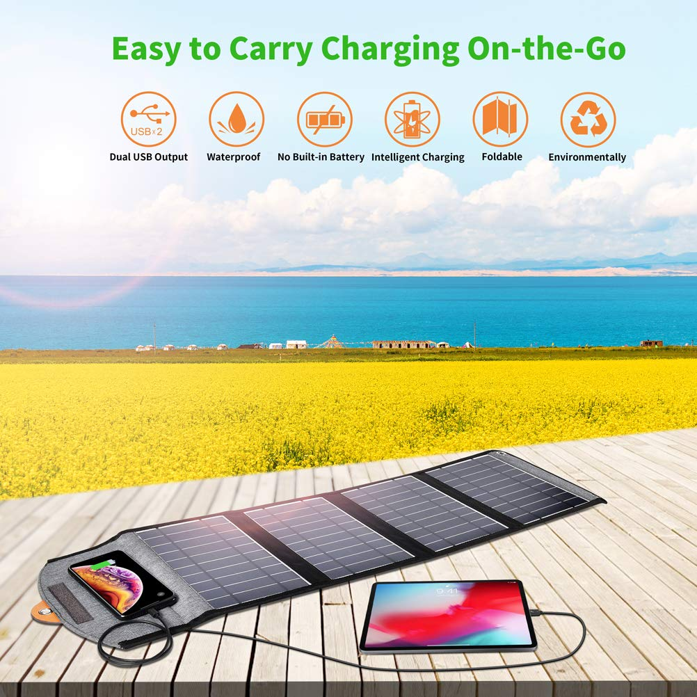 CHOETECH 24W Portable Waterproof Foldable Solar Charger with Dual USB Ports CHOETECH