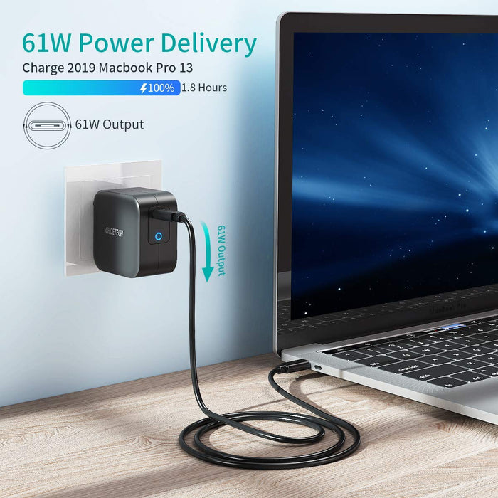 Q6006 61W Power Delivery Fast Charger [PD 3.0 & GaN Tech] Type C Foldable Wall Charger CHOETECH