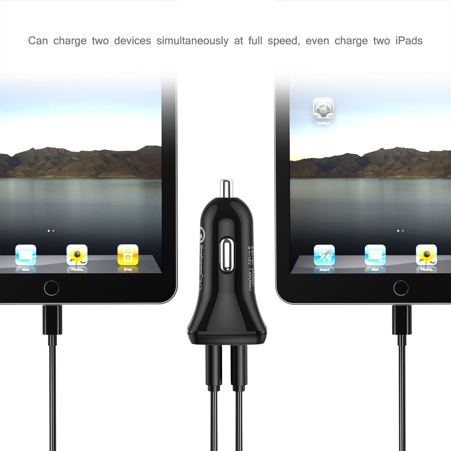 C0051 Quick Charge 3.0 Tech 30W Car Charger With USB Cable
