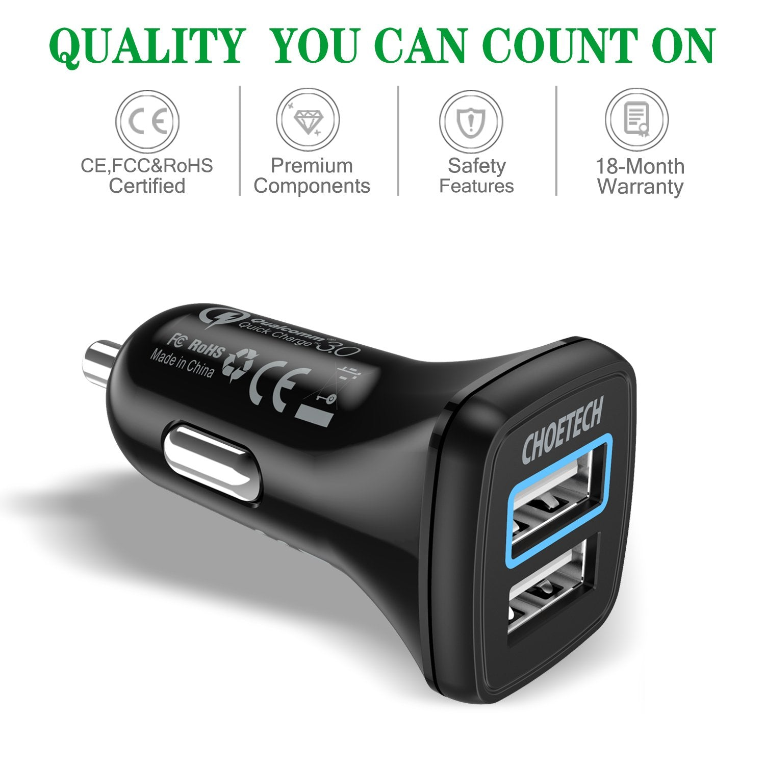 CHOETECH C0051 Quick Charge 3.0 Tech 30W Car Charger With USB Cable