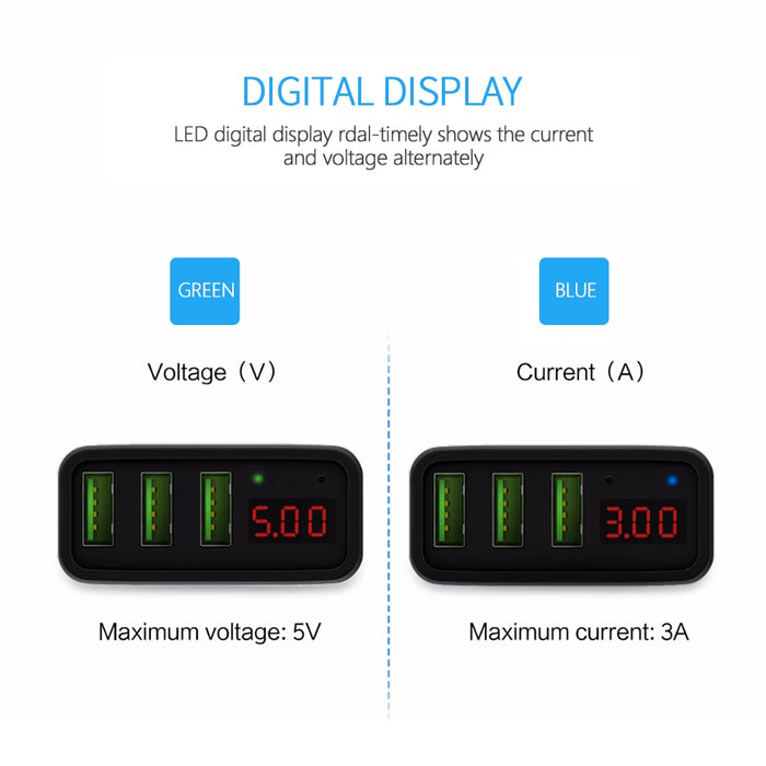 CHOETECH Universal 3 USB Charger LED Display Wall Charger CHOETECH OFFICIAL