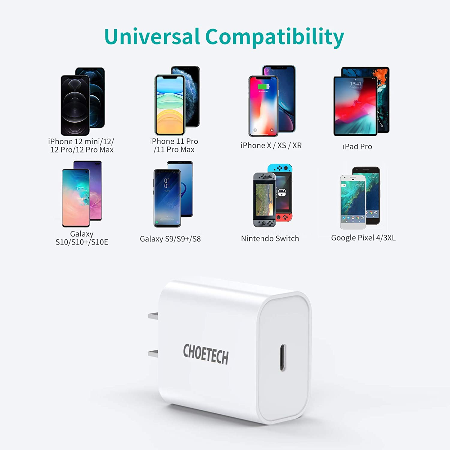 Q5004 CHOETECH PD Fast Type C Wall Charger 20W Compatible iPhone 12 Pro Max/12 Mini/11 Pro Max