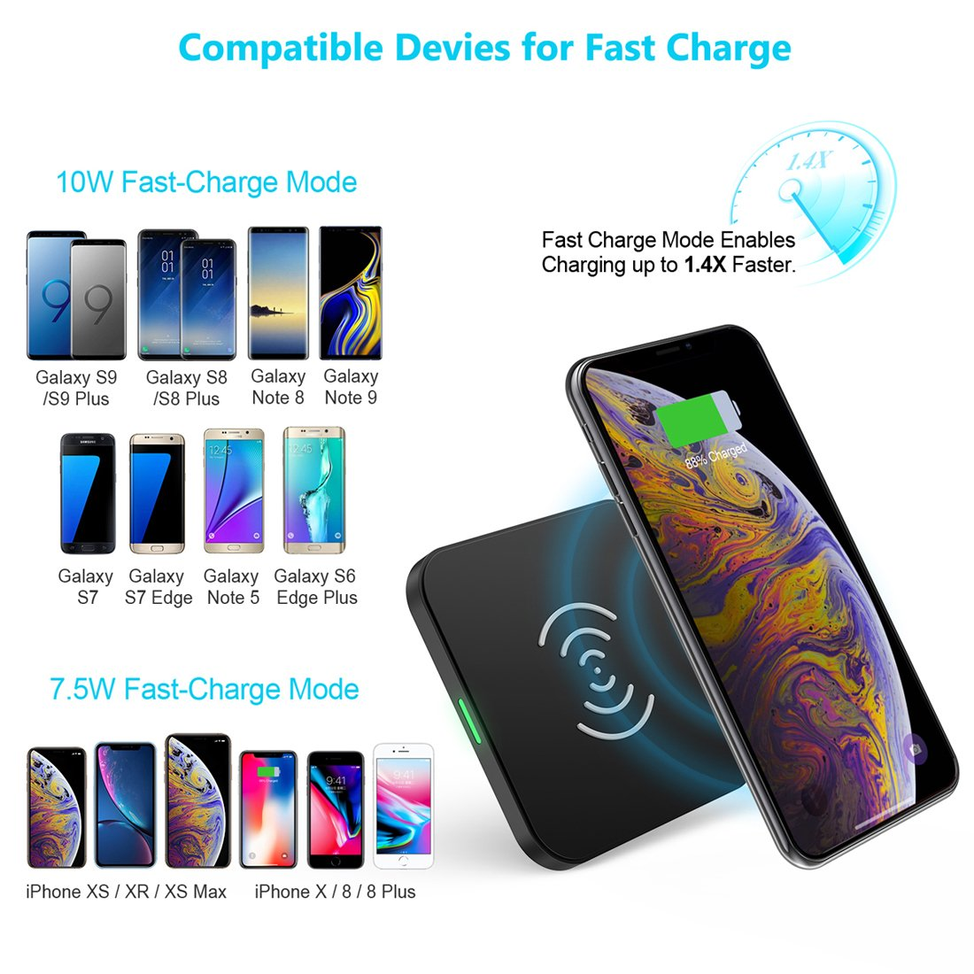 T511S Choetech QI Certified 10W/7.5W Fast Wireless Charger Pad