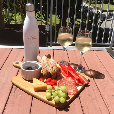 Cold wine all day with Evachill bottles - food platter
