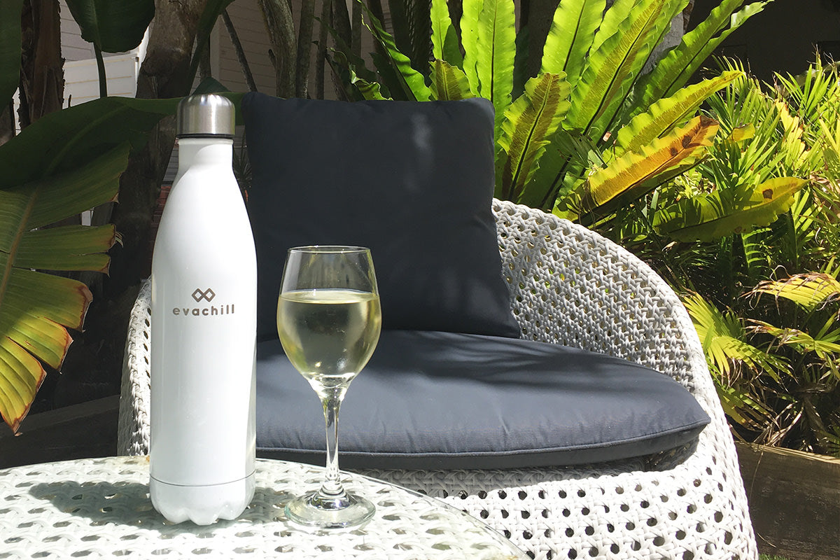 Our bottles are 750ml (25oz) so they can keep an entire bottle of wine cold and the bottle mouth is wide enough for ice cubes and drip-free sipping!