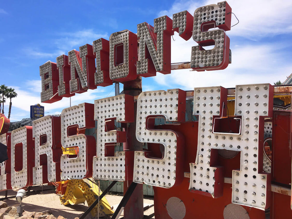 The Neon Museum in Las Vegas with Evachill reusable bottles