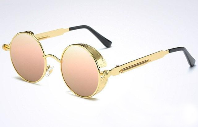 684d30b13ad ... Steampunk Sunglasses Polarized Men Round Metal Carving Mirrored Coating  with Case - southcoastshades ...