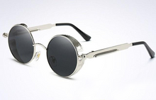 Steampunk Sunglasses Polarized Men Round Metal Carving Mirrored Coating with Case - southcoastshades