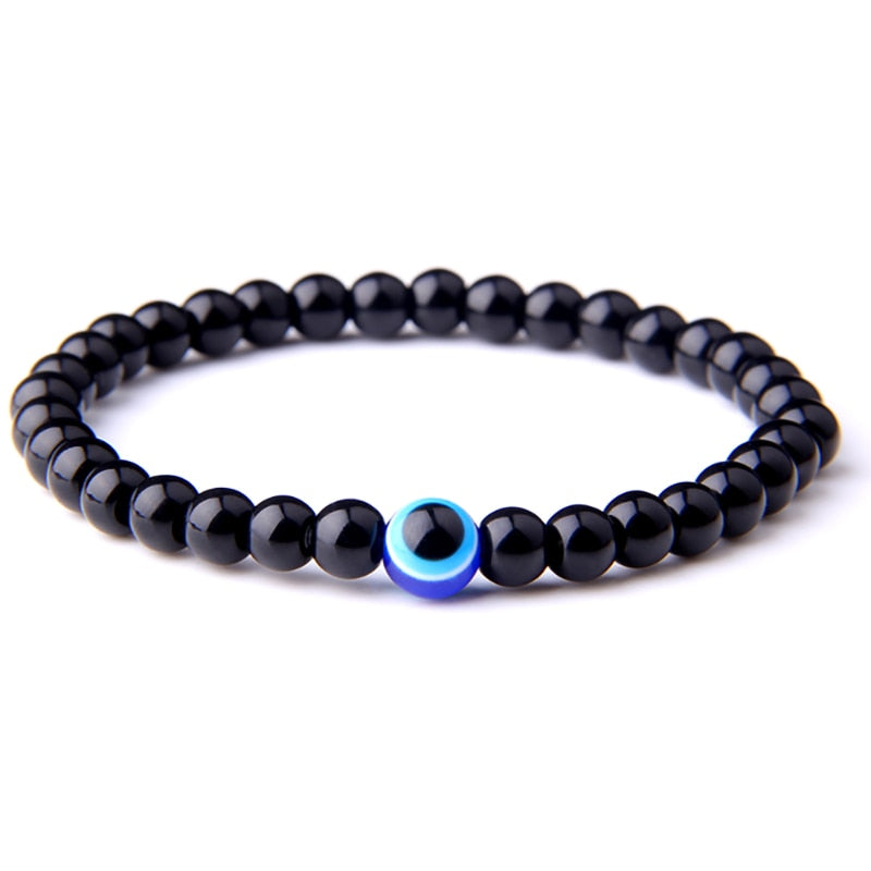 Natural Stone Onyx Volcanic Beads Bracelet Fashion Turkish Evil Eye Charm Bracelet for Women Men Yoga Energy Jewelry Gifts - southcoastshades