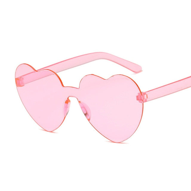 Love Heart Lens Sunglasses Women Transparent Clear Candy Color Tint - southcoastshades