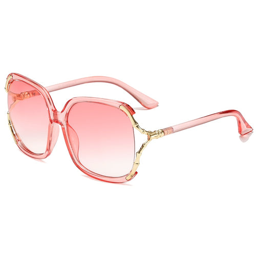 Pink Cotton Candy Color Tint Gradient Lense Large Square UV400 Sunglasses for Women Gold Frame - southcoastshades