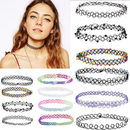 12Pcs Stretch Womens Choker Necklace Punk Retro Gothic Elastic Pendants - southcoastshades