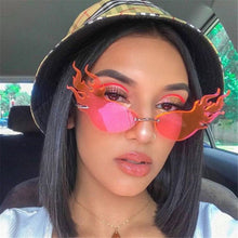 Fashion Fire Flame Sunglasses Women Cat Eye RimlessUV400 - southcoastshades
