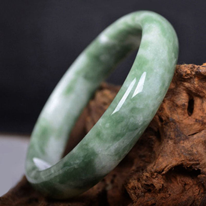 Womens Lady Natural Chinese Green Jade Bracelet Bangle Hand Carved