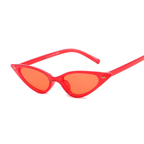Transparent Red Purple Cat Eye Sunglasses Women Small Frame Design Jelly Color Cute