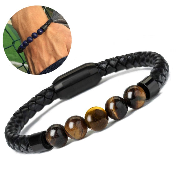Mens Leather Bracelet Charm Lava Chakra Stone Beads Black Stainless