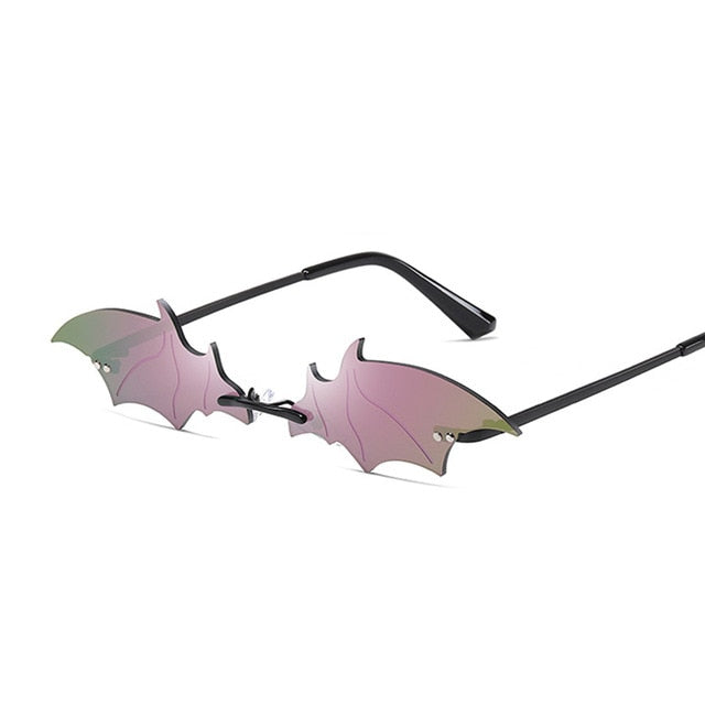 Women Rimless Vintage Bat Shape Sunglasses Color Tint Lenses