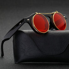 Sunglasses Women Brand Designer Retro Round Steampunk steam punk Metal Flip cover Fashion Sun glasses gafas Oculos de Sol - southcoastshades