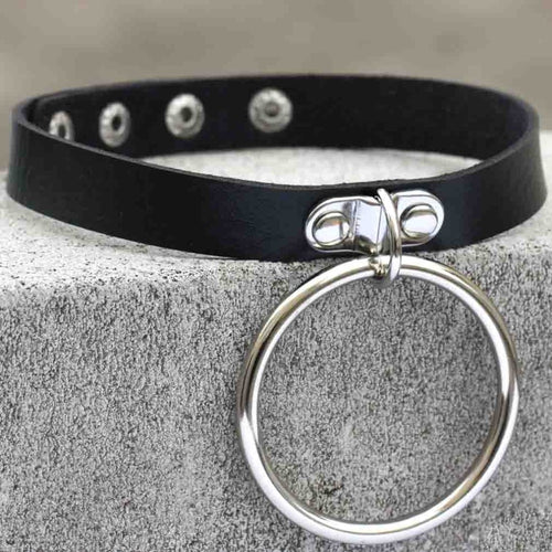 Black leather Goth Choker punk Collar gothic Necklace choker - southcoastshades