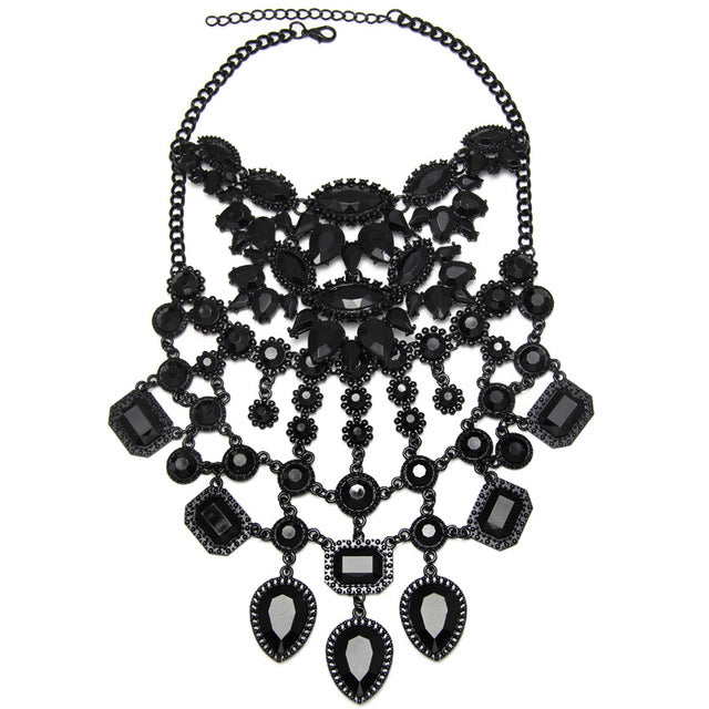 Womens Gothic Maxi Necklace Black Rhinestone Crystal Beads Collar Choker - southcoastshades