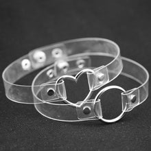 Clear punk choker Women Heart Choker Necklace Collar - southcoastshades