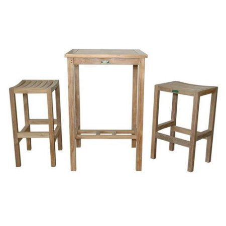 "Anderson Teak Avalon 27"" Square Bar Table  +  2 Montego Bar Chairs - American Teak"