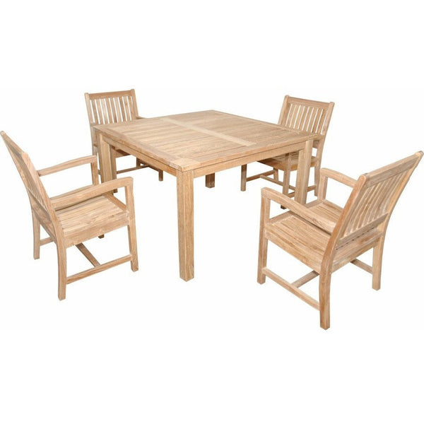 "Anderson Teak Windsor 47"" Square Table + 4 Rialto Dining Armchairs - American Teak"