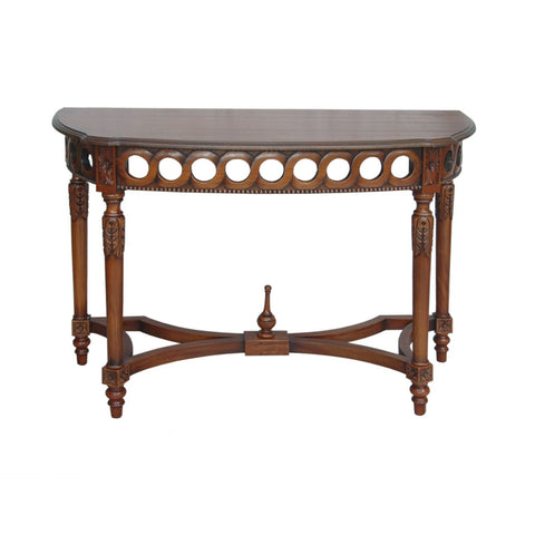 Neoclassical Demilune Mahogany Console Table - American Teak
