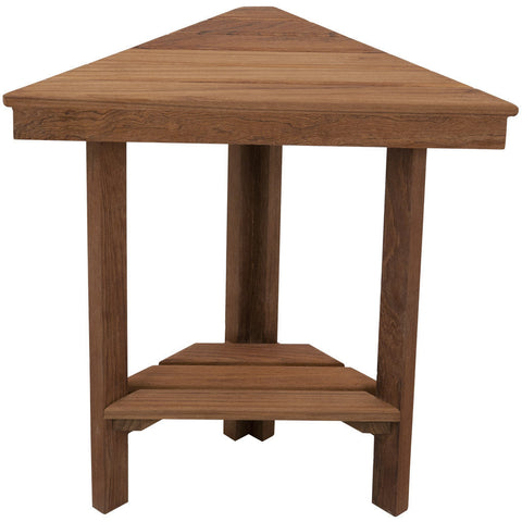 Teakworks4u Mini Corner Shower Bench with Shelf - American Teak