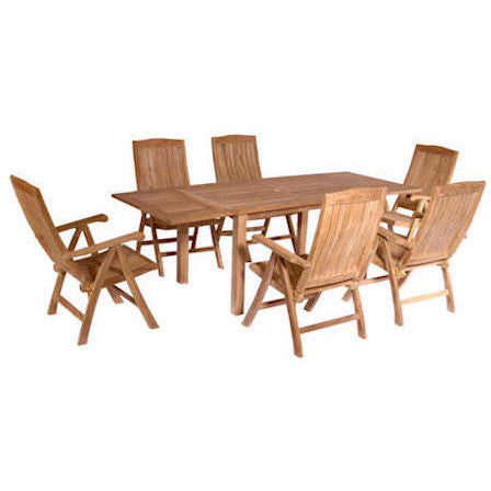 Anderson Teak Rectangular Extension Table + 6 Recliner Armchairs - American Teak