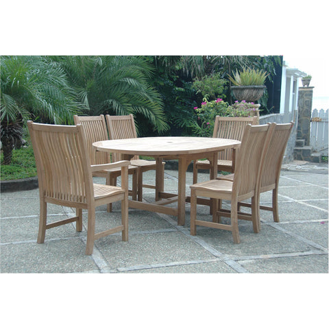 Anderson Teak Bahama Extension Table + 6 Chicago Dining Chairs - American Teak