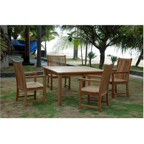 "Anderson Teak Windsor 47"" Square Table +  4 Chicago Armchairs - American Teak"