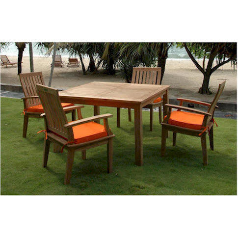 "Anderson Teak Windsor 47"" Square Table + 4 Brianna Dining Armchairs - American Teak"