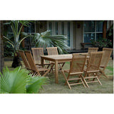 "Anderson Teak Windsor 47"" Square Table + 6 Classic Folding Chairs - American Teak"