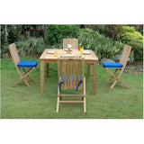 "Anderson Teak Windsor 47"" Square Bistro Table + 4 Comfort Folding Chairs - American Teak"